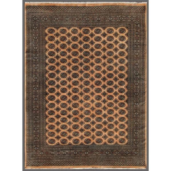 Pakistani Hand-knotted Bokhara Beige/ Black Wool Rug (7'11 x 10'4)