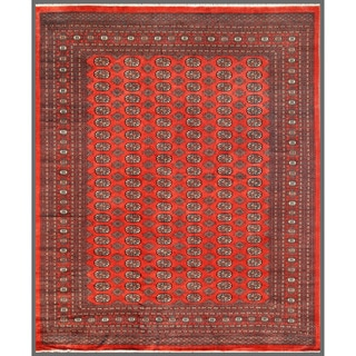 Pakistani Hand-knotted Bokhara Red/ Ivory Wool Rug (8'1 x 9'9)
