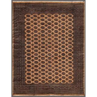 Pakistani Hand-knotted Bokhara Beige/ Black Wool Rug (7'10 x 10')