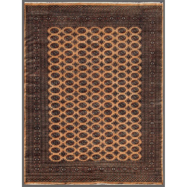 Pakistani Hand-knotted Bokhara Beige/ Black Wool Rug (7'10 x 10')