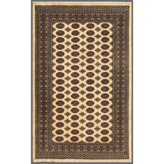 Pakistani Hand-knotted Bokhara Beige/ Black Wool Rug (5'1 x 8')