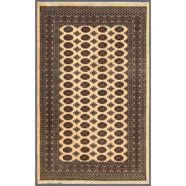 Herat Oriental Pakistani Hand-knotted Bokhara Beige/ Black Wool Rug (5'1 x 8')