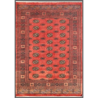 Pakistani Hand-knotted Bokhara Light Red/ Ivory Wool Rug (5'5 x 7'8)