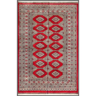 Pakistani Hand-knotted Bokhara Red/ Beige Wool Rug (4'5 x 6'9)