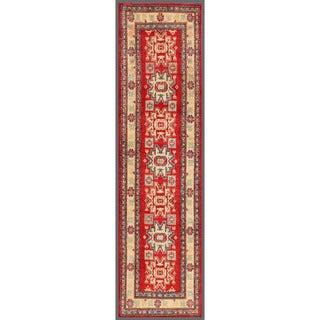 Afghan Hand-knotted Kazak Red/ Ivory Wool Rug (2'8 x 10'3)