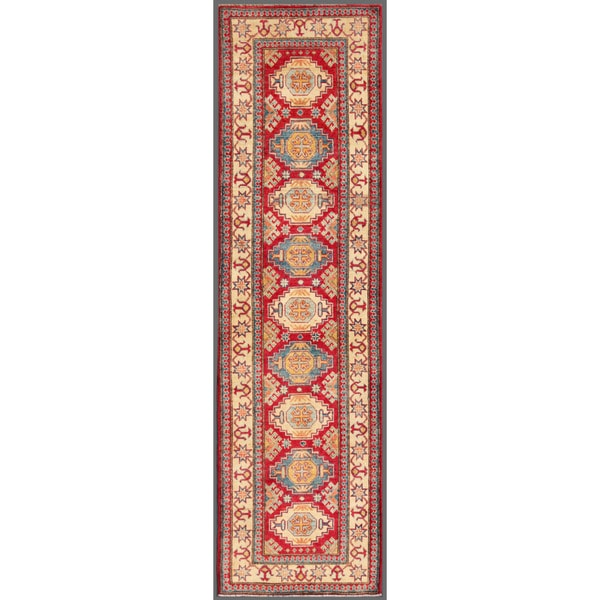 Herat Oriental Afghan Hand-knotted Kazak Red/ Ivory Wool Rug (2'9 x 9'9)
