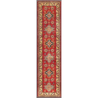 Afghan Hand-knotted Kazak Red/ Ivory Wool Rug (2'6 x 9'10)