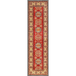 Afghan Hand-knotted Kazak Red/ Ivory Wool Rug (2'8 x 10')