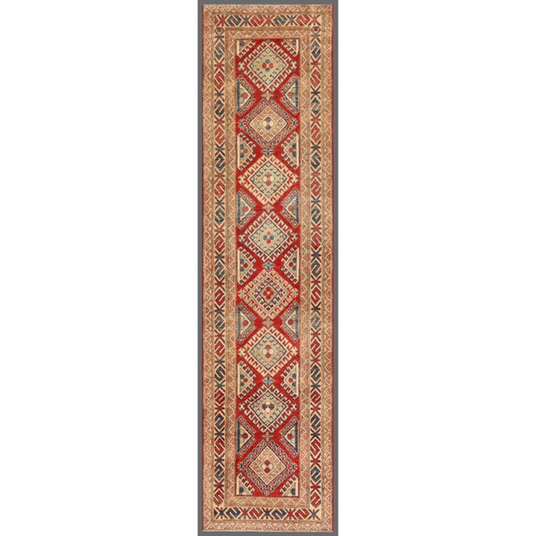 Afghan Hand-knotted Kazak Red/ Ivory Wool Rug (2'8 x 10'9)