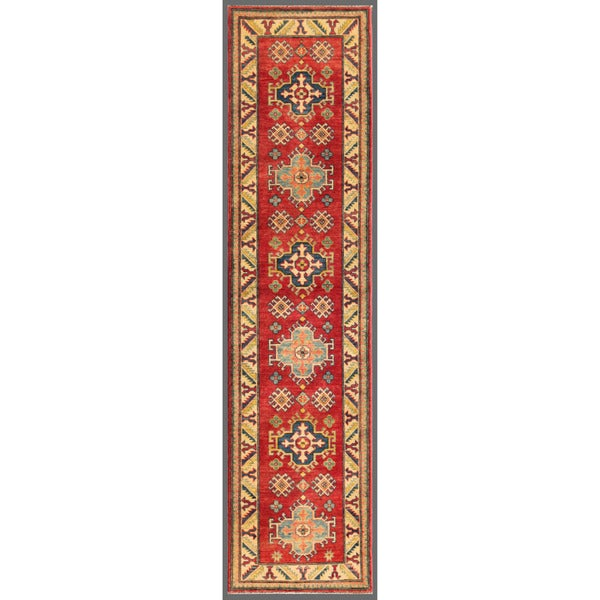 Afghan Hand-knotted Kazak Red/ Ivory Wool Rug (2'4 x 9'10)