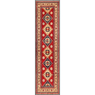 Afghan Hand-knotted Kazak Red/ Ivory Wool Rug (2'7 x 10'6)