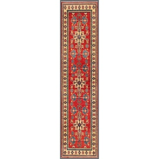 Afghan Hand-knotted Kazak Red/ Ivory Wool Rug (2'9 x 11'4)