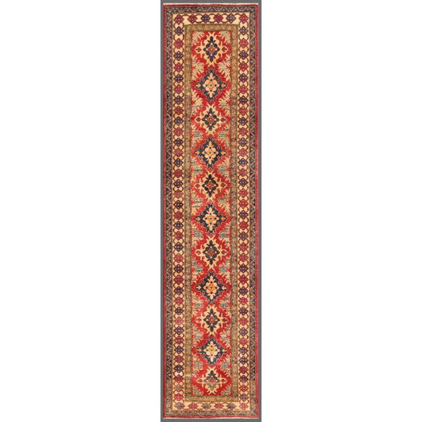 Afghan Hand-knotted Kazak Red/ Ivory Wool Rug (2'8 x 11'5)