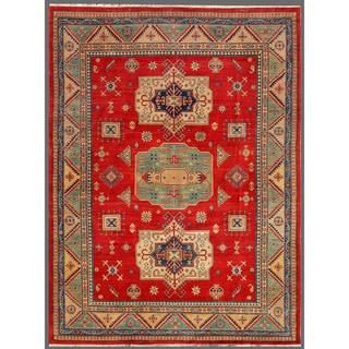 Afghan Hand-knotted Kazak Red/ Beige Wool Rug (8'10 x 11'8)