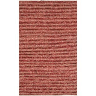 Hand-knotted Vegetable Dye Chunky Red Hemp Rug (2' x 3')