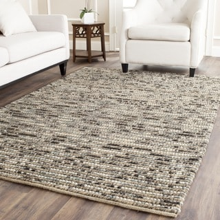 Hand-knotted Vegetable Dye Chunky Grey Blue Hemp Rug (6' Square)