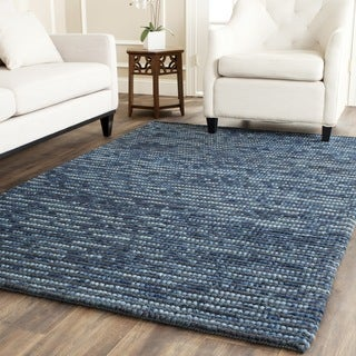 Hand-knotted Vegetable Dye Chunky Dark Blue Hemp Rug (6' Square)