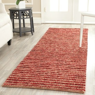 Hand-knotted Vegetable Dye Chunky Red Hemp Rug (2' 6 x 8')