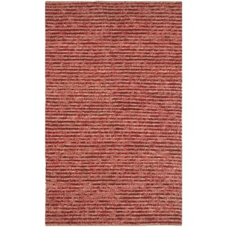 Hand-knotted Vegetable Dye Chunky Red Hemp Rug (3' x 5')