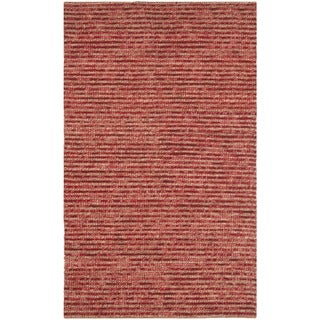 Hand-knotted Vegetable Dye Chunky Red Hemp Rug (8' x 10')