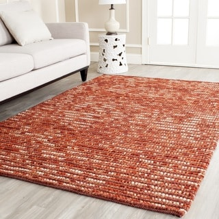 Hand-knotted Vegetable Dye Chunky Rust Hemp Rug (3' x 5')