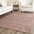 Hand-knotted Vegetable Dye Chunky Purple Hemp Rug (4' x 6')