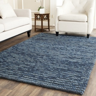 Hand-knotted Vegetable Dye Chunky Dark Blue Hemp Rug (2' x 3')