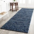 Hand-knotted Vegetable Dye Chunky Dark Blue Hemp Rug (2' 6 x 8')