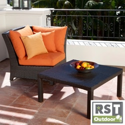 RST Outdoor Tikka Patio Furniture Corner Section and Coffee Table Set