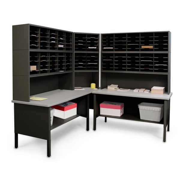 Marvel Mail Organizer Utility Table with Adjustable Cubbies (120 Cubbies)