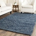Hand-knotted Vegetable Dye Chunky Dark Blue Hemp Rug (5' x 8')