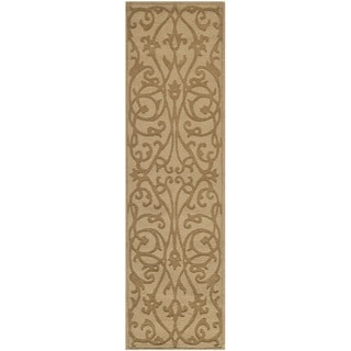 Handmade Irongate Scrolls Light Brown New Zealand Wool Rug (2'3 x 12')