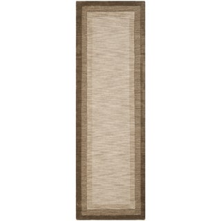 Safavieh Handmade Impressions Solo Beige/ Brown New Zealand Wool Rug (2'3 x 8')