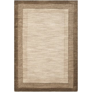 Safavieh Handmade Impressions Solo Beige/ Brown New Zealand Wool Rug (7'6 x 9'6)