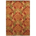 Handmade Metro Majestic Gardens Rust New Zealand Wool Rug (5' x 8')