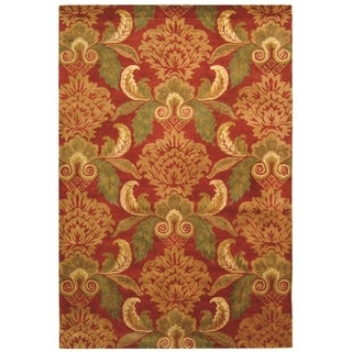 Handmade Metro Majestic Gardens Rust New Zealand Wool Rug (9' x 12')