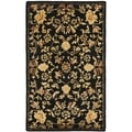 Handmade Metro Garden Scrolls Black New Zealand Wool Rug (4' x 6')