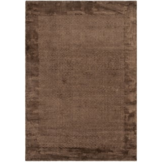 Hand-knotted Mirage Brown Viscose Rug (8' x 10')