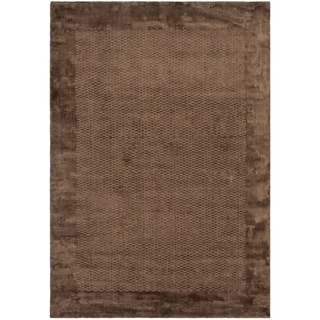 Hand-knotted Mirage Brown Viscose Rug (9' x 12')