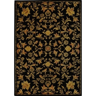 Handmade Metro Garden Scrolls Black New Zealand Wool Rug (9' x 12')