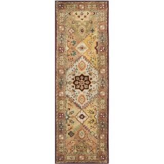 Safavieh Handmade Persian Legend Diamonds Multi/ Rust N.Z. Wool Rug (2'6 x 10')