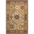 Handmade Persian Legend Diamonds Multi/ Rust N.Z. Wool Rug (2'6 x 4')