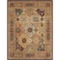 Handmade Persian Legend Diamonds Multi/ Rust N.Z. Wool Rug (5' x 8')