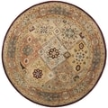 Handmade Persian Legend Diamonds Multi/ Rust N.Z. Wool Rug (8' Round)