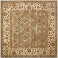 Handmade Mahal Green/ Beige New Zealand Wool Rug (8' Square)