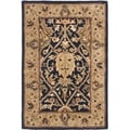 Handmade Mahal Blue/ Gold New Zealand Wool Rug (3' x 5')