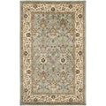 Handmade Mahal Blue Grey/ Ivory New Zealand Wool Rug (5' x 8')