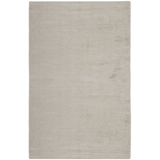 Hand-knotted Mirage Light Silver Viscose Rug (8' x 10')