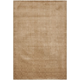 Hand-knotted Mirage Camel Beige Viscose Rug (9' x 12')