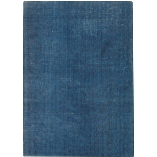 Hand-knotted Mirage Blue Viscose Rug (9' x 12')